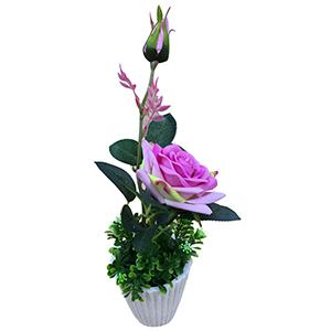 Macetita de yeso con flor de Rosa rosa