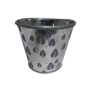 Macenta cilindrica plateada con estampado de hojas blancas de 15x13cm