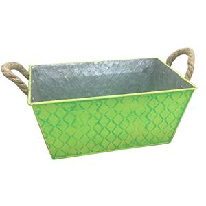 Maceta de lamina rectangular con rombos verde de 26x18cm