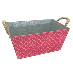 Maceta de lamina rectangular con rombos rosa de 29x18cm
