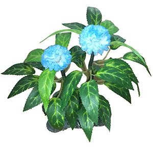 Flor de clavel azul en base de piedra