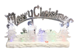Tren de acrilico con luz led, musica y letrero navideño