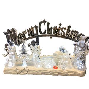 Misterio navideño de acrilico con luz led y letrero navideño