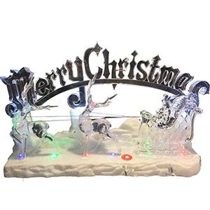 Trineo con letrero de acrilico navideño, musical Merry Christmas