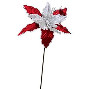Vara de nochebuena de terciopelo roja con blanco