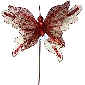 Vara de mariposa roja c/beige