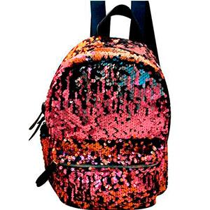 Back Pack con lentejuelas rosas y negras