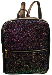 Back Pack negra con diamantina rosa y moradas