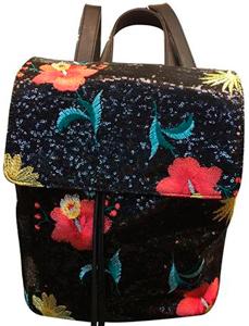 Back Pack con lentejuelas negras con bordado