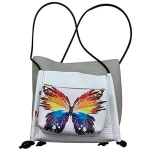 Bolsa de dama blanca diseño mariposa de colores