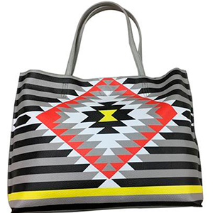 Bolsa de dama diseño lineas grises y blancas