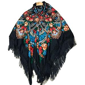 Chal negro con diseño de flores de colores