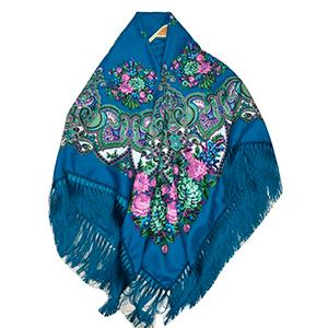 Chal azul diseño de flores de colores