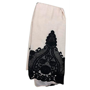 Pashmina beige con diseño en color negro