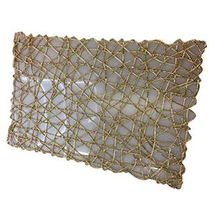 Mantel individual rectangular diseño tejido dorado de 43x30cm