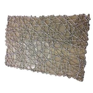 Mantel individual rectangular diseño tejido plateado de 43x30cm