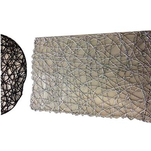 Mantel individual rectangular diseño tejido negro de 43x30cm