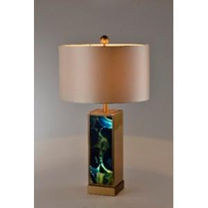 Lámpara de mesa con base diseño mármol iluminado con pantalla cilíndrica de 42x75cm