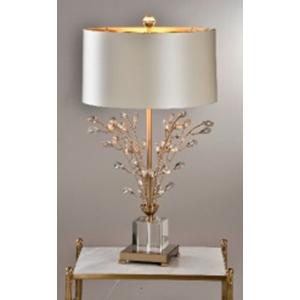 Lámpara de mesa con base diseño cubo de cristal con varas doradas y cuentas transparentes de 45x82cm