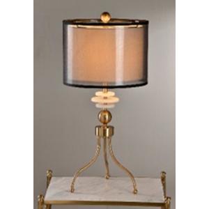 Lámpara de mesa dorada de metal con pantalla translucida color humo de 36x78cm