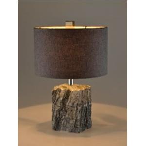 Lámpara de mesa con base diseño mármol y pantalla cilíndrica de 34x50cm