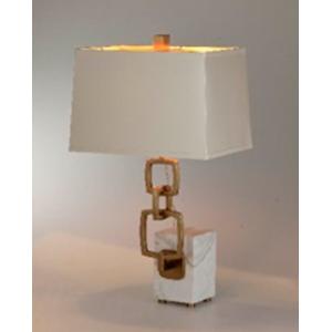 Lámpara de mesa con base diseño mármol blanco y cadena dorada de 35x28x64cm