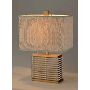 Lámpara de mesa con base calada dorada y pantalla con textura de 35x53x23cm
