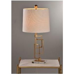 Lámpara de mesa con base diseño cadena dorada y pantalla cilíndrica de 34x74