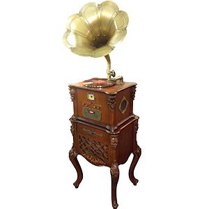 Modular diseño Fonografo con base de madera en color café, funciones, CD, FM, USB Y Bluetooth