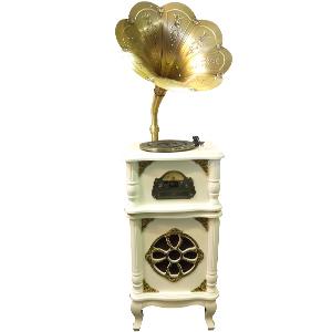 Modular diseño Fonografo con base de madera en color beige, funciones CD, FM, USB Y Bluetooth