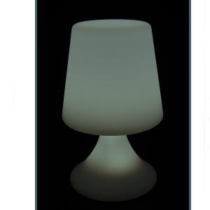 Lampara de plastico con luz led blanca y clabe USB de 16x16x24cm