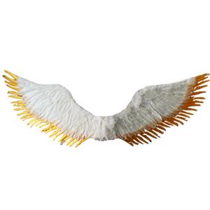 Alas de Angel de plumas blancas con dorado de 123x44cm