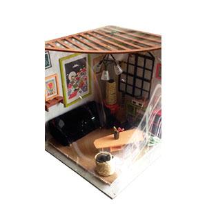Sala mini para muñeca con accesorios y luz