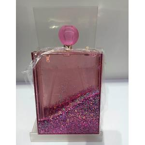 Bolso de mano transparante con liquido y diamantina rosa