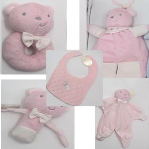 Juego de accesorios para bebe diseño oso en color rosa