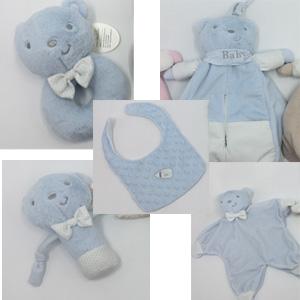 Juego de accesorios para bebe diseño oso en color azul
