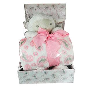 Juego de accesorios para bebe diseño oveja en color rosa