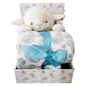 Juego de accesorios para bebe diseño oveja en color azul