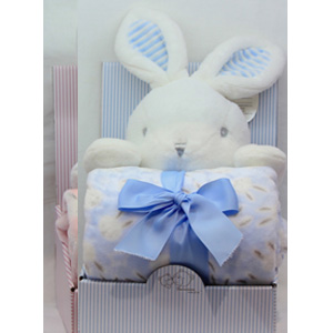 Juego de accesorios para bebe diseño conejo en color azul
