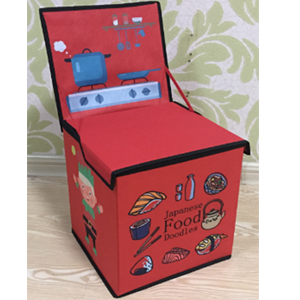 Juguetero de tela plegable diseño intantil para niña diseño cocinita