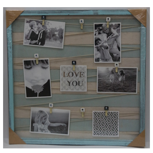 Mrco de madera cuadrado en color azul con 9 clips para fotografias de 52x52cm
