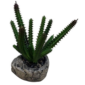 Cactus artificial en maceta de piedra