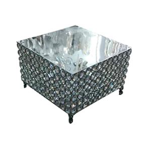 Base cuadrada de metal plateada con bits de  23x23cm