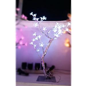 Árbol de cereza plateado c/48 luces led blancas de 45cm