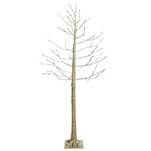 Árbol dorado con luces led en las puntas de las ramas con 112 puntas de 150cm