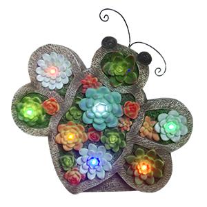Mariposa de resina con flores y luces led (usa 1 bateria doble A) de 29x9x31cm