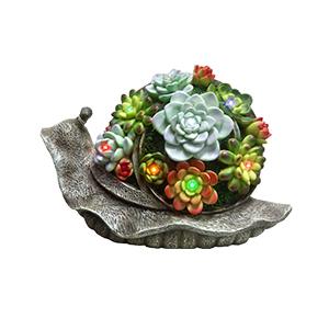 Caracol de resina con flores y luces led (usa 1 bateria doble A) de 30x13x19cm