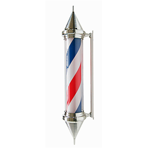 Caramelo de barbería con luz giratorio y pantalla de mica de 130x23x31cm