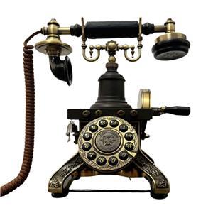 Teléfono vintage negro con dorado de Torre Eiffel
