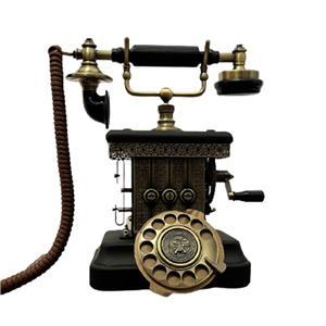 Teléfono vintage de metal negro con dorado